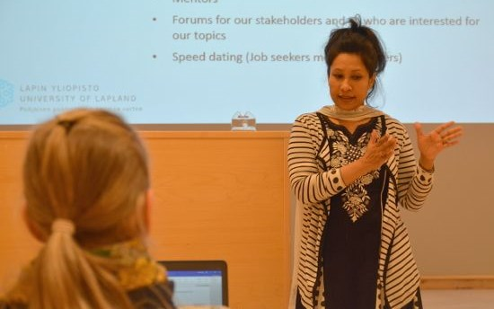 Nafisa explains objectives of the FOLO project during Symposium on Arctic Migration held in the Arctic Centre on December 7, 2016